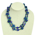 Blue shades two strand glass crystal fiesta necklace 20""