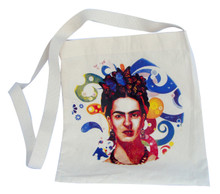 "Frida Kahlo Butterflies and Floral Swirls Canvas Tote 14"" x 16"" with 30"" Handle Strap"