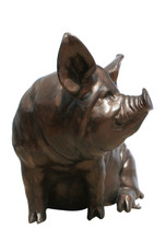 Large Sitting Sow Pig Metal Garden Statue L 48u2033 X W 32u2033