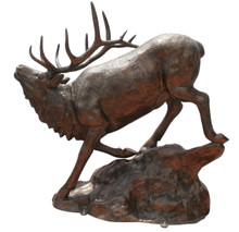 Elk Down on Rock Metal Garden Statue Large Monument