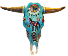 "Original Steer Skull Hand Painted with Horns 22"" x 22"" x 12"""