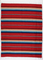 Sarape Cotton Heavy Weave Blanket Red Striped Mexico Premium Quality