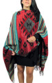 "Medallion Pattern Shawl Wrap in Reversible Design Peru 27"" x 72"""
