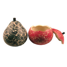"""Gourd Box 4-5"""" Large Relief Carving Wild Life Color Assortment"""