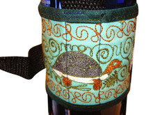 Water bottle holder with sewing machine embroidery
