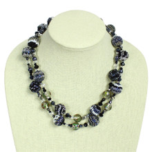 NE506-102 Neutral Shades Crystal and Glass Necklace