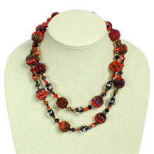 NE506-111 Red Ruby  Shades Crystal and Glass Necklace