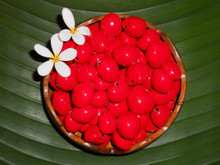 Red Painted Kukui Nuts