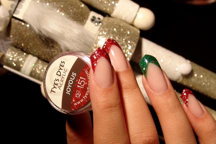 SANTA CHRISTMAS RED PREMIXED GLITTER ACRYLIC NAIL POWDER / JOYOUS