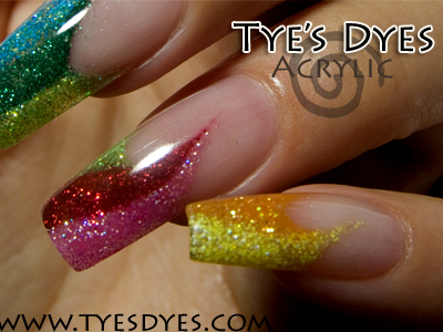 Colorful And Glittery Rainbow Acrylic Nails Jpg