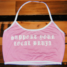 Support Your Local Bruja Halter Tank (Pink)