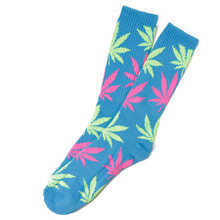 HUF Neon Plantlife Crew Socks Neon Blue