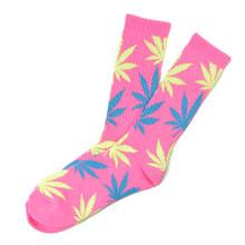 HUF Neon Plantlife Crew Socks Neon Pink