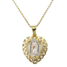 Virgen De Guadalupe Heart Necklace (14k Gold Plated)