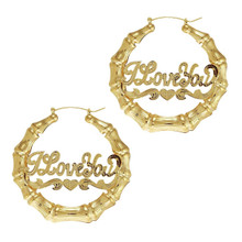 Te Amo 14K Gold Plated Bamboo Earrings 3 Inches