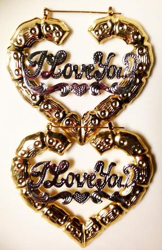 ... Gold Plated Heart Bamboo Earrings. Image 1 & Te Amo 14K Gold Plated Heart Bamboo Earrings - Apple Sauced