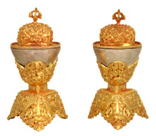 Silver and Golden Metal Kapala Set 5.25""
