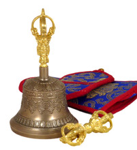 Small Five Prong Bell and Dorje Set (Wheel Design) 5.75""