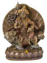 White Dzambhala Bronze Finish Resin Statue
