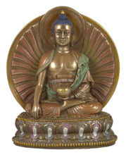 Shakyamuni Buddha Bronze Finish Resin Statue