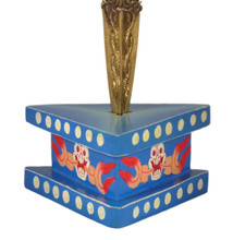 Medium-Size Painted Wooden Phurba Stand with Spot Design