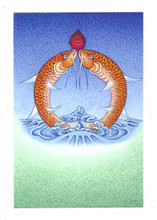 The Golden Fishes: Eight Auspicious Symbols Card, by Kumar Lama