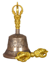 Five Prong Bell & Dorje Set with Gold Colored Finish (Version 3)