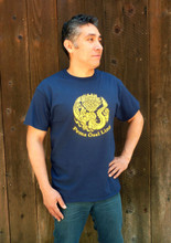Navy blue crew neck POL logo t-shirt (shirt modeled is size large)
