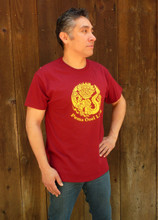 Burgundy crew neck POL logo t-shirt (shirt modeled is size large)