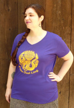 Purple women's POL logo v-neck (shirt modeled is size XXL)