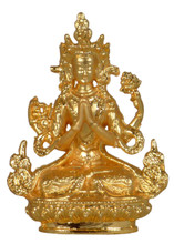 Small Metal Golden Chenrezig Statue