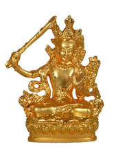 Small Metal Golden Manjushri Statue