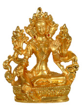 Small Metal Golden Green Tara Statue