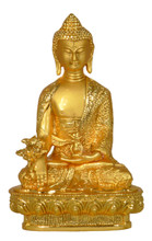 Small Metal Golden Medicine Buddha Statue