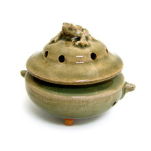 "Approx. 4.25"" wide x 3.5"" tall (lid and bowl together) (Please note: due to the uniqueness of all handcrafted and hand-glazed pottery, variations in glaze colors and effects are common. The piece you receive will not exactly match the image displayed.)"