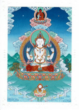 Chenrezig with Amitabha Deity Card Print, by Kumar Lama