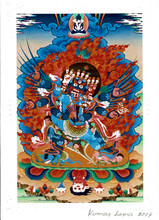 Vajrakilaya Deity Card Print, by Kumar Lama (Colorful)