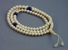 7mm Pearl Mala with Lapis Spacers