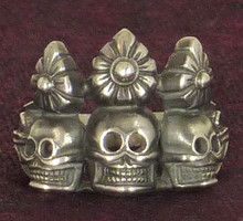 Silver Skull Ornament Ring with Filigree by Natsog Dorje, Size 9