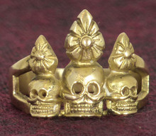 Brass Skull Ornament Ring by Natsog Dorje, Size 9