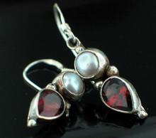 Garnet and Mother of Pearl Earrings