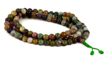 Moss agate mala with 108, size 8mm beads.
