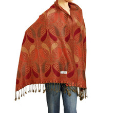 Red and Orange Paisley Drop Pashmina Shawl