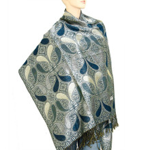 Blue and Silver Paisley Drop Pashmina Shawl