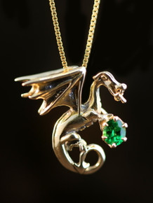 Fire Dragon Pendant with Emerald