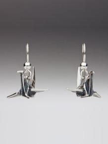 Peace Crane Earrings - Silver