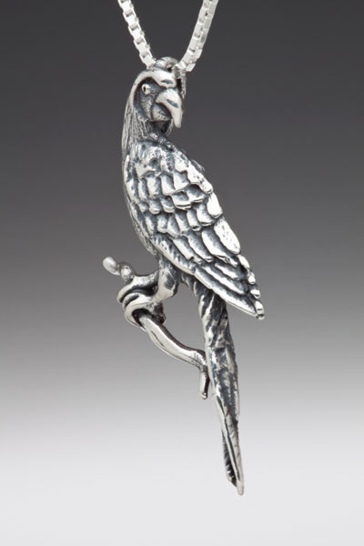 rainforest jewelry - silver macaw pendant