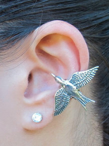 Mocking Jay Ear Cuff Silver