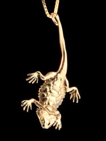 14k Gold Bearded Dragon Pendant