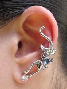 Angel Kitty Ear Cuff - Silver